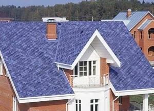 Фиолетовая крыша дома