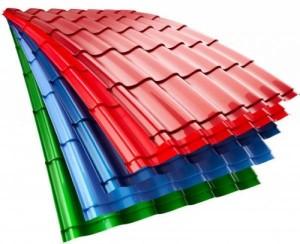 Зеленая, синяя и красная металлочерепица
