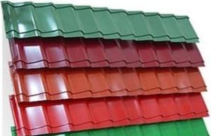 Ряды цветной металлочерепицы